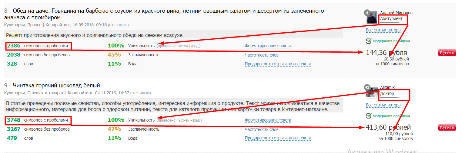 Продажа фото рецептов на текст.ру