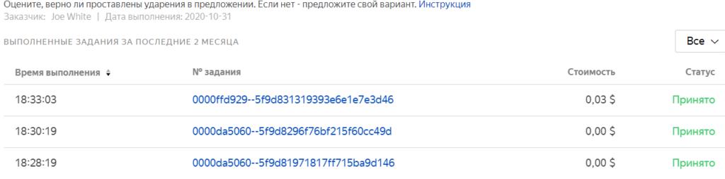 Работа на Яндекс толока результат по новому заданию