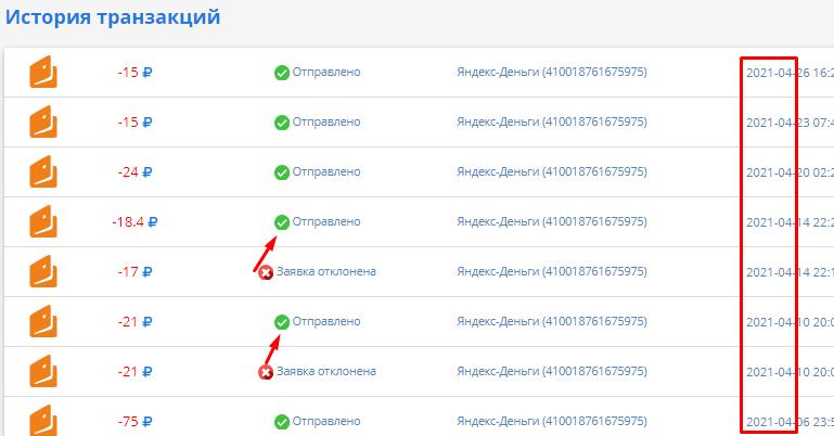 Скриншот выплат с ВКтаргет